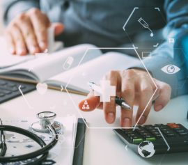 Man computing for medical bills.