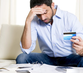 Man is filing for bankruptcy due to credit card debt.
